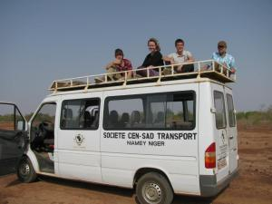 This is our group preparing to go looking for giraffes in the Niger desert. That's not a van for a zoo or anything, that's the vehicle we used all week. We literally saw giraffes in their natural habitat.